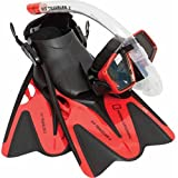 National Geographic Snorkeler Fit Traveler 2 Snorkel Combo, Red, Small/Medium