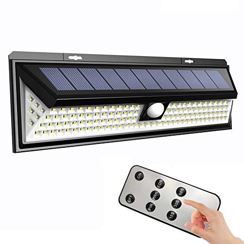 118 LED Solarleuchten für Außen IP65 Wasserdichte Solarlampe mit Fernbedienung und Bewegungs Sensor 3 Modi Solar Wandleuchte für Garten, Patio, Deck, Hof