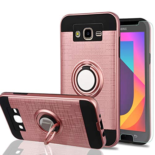 Galaxy J7 2015 Case,J7 NEO Case with HD Phone Screen Protector,YmhxcY 360 Degree Rotating Ring & Bracket Dual Layer Resistant Back Cover for Samsung Galaxy J7 J700 2015-ZH Rose Gold