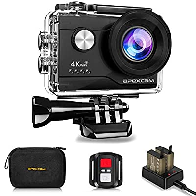 4K Action Camera 16MP Underwater Waterproof Camera 40M 170°Wide-Angle WiFi Sports Camera with 2.4G Remote Control 2 Batteries 2.0'' LCD Ultra HD Camera with Mounting Accessories Kit by Apexcam