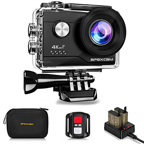 Apexcam 4K WiFi Action Cam 20MP Ultra HD Action Camera Impermeabile Sott'acqua 40M 2\'\' Sports Cam 2.4G Telecomando 170° Grandangolare con 2x1050mAh Batterie e Kit di Accessori