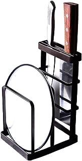 VANRA Metal Steel Cutting Board Holder Knife Block Kitchen Organizer Pantry Bakeware Rack Pan Pot Cover Lid Rack Stand (Bronze)