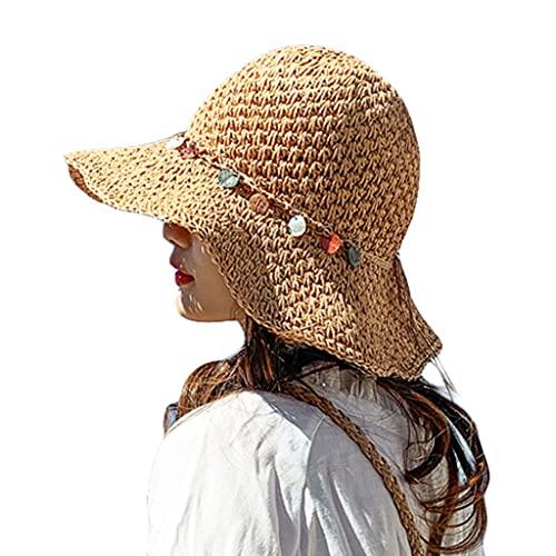 LYTYM Las Mujeres de Verano Ancho Sombrero de ala de la Playa enrollar el Sombrero del Sol con el Sombrero Plegable de la Paja de Viaje de Floppy Sombrero de Playa (Color : Khaki)
