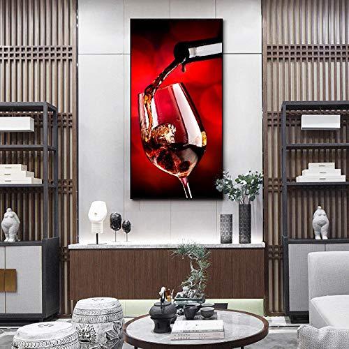 Wydlb Print foto's canvas schilderij muur wijn met glas canvas, schilderij muurkunst schilderij voor kamer- en keukendecoratie 60x120cm zonder lijst