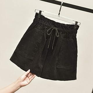 39f898489e08 LMSHMDK Pantalones Cortos Mujer Otoño Invierno Casual Cintura Elástica  Corduroy Shorts Mujeres Vintage Cordón Ancho Piernas