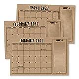Rustic Kraft 2021-2022 Desk Calendar, Large Monthly Wall Planner, 18 Month Academic Desktop Calendar or Fridge Planning Blotter Pad, Simple Notes Section for Teacher, Family or Business Office 11x17'