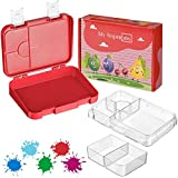 My Vesperbox – Bento Box Kinder - Lunchbox mit 4+2 Fächern - extrem robust und auslaufsicher – Brotdose – Brotbox ideal für Kindergarten und Schule (Rot-Weiß)