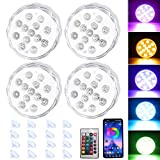 Puck Lights Color Changing with Remote Above Ground Pool Hot Tub Accessories for Adults Submersible Led Rgb Lamp Battery Operated Waterproof IP68 RF Control Pool Gifts with Magnets Suction Cups(4Pack)