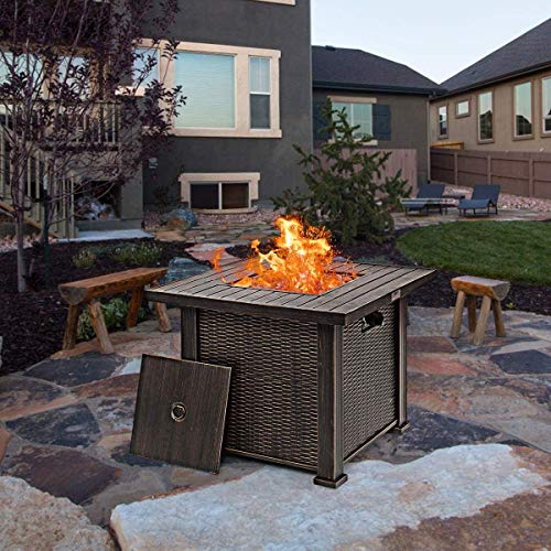"""30"""" Fire Pit Table, 50,000 BTU Outdoor Propane Heater w/Waterproof Cover & Lava Rocks, CSA Cert, ETL Cert. Gas Fire Table for Indoor, Patio, Garden, Bronze, Coffee Table and Heater in One"""