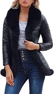 Women's Winter Warm Casual Faux Leather Shearling Jacket Midi Parka Coat Slim