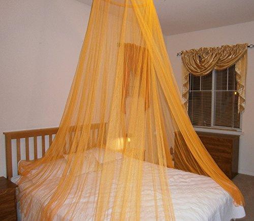 OctoRose Round Hoop Bed Canopy Mosquito Net Fit Crib, Twin, Full, Queen, King (Orange)