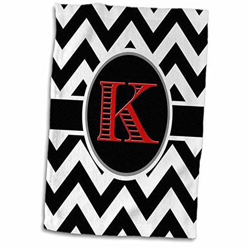3D Rose Black and White Chevron Monogram Red Initial K Hand Towel, 15