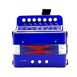 SODIAL Pequenos mini teclado ritmo acordeon instrumento Musical educativo banda juguete para ninos azul