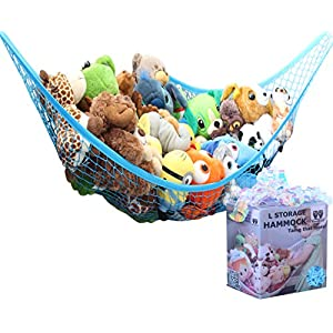 MiniOwls Toy Storage Hammock – Stuffed Animal Organizer for Toddlers/Boy's Bedroom. Keeps Plushies Off The Bed and Floor. Teddies Display Corner Solutions.(Blue, Large)