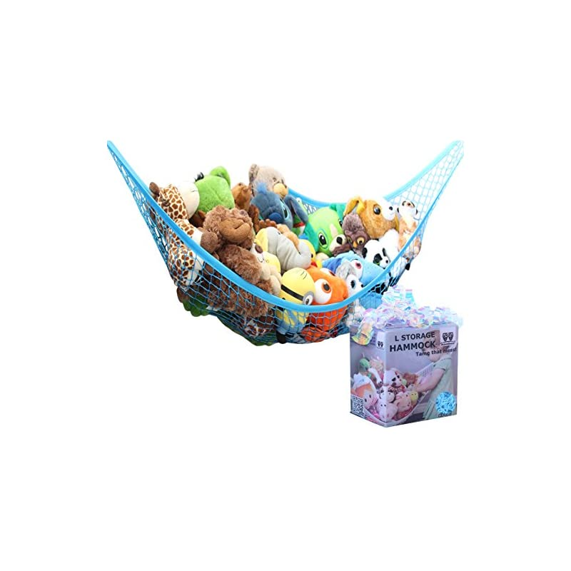 crib bedding and baby bedding miniowls toy storage hammock - stuffed animal organizer for toddlers/boy's bedroom. keeps plushies off the bed and floor. teddies display corner solutions.(blue, large)