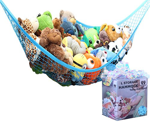 MiniOwls Toy Storage Hammock - Stuffed Animal Organizer for Toddlers/Boy's Bedroom. Keeps Plushies Off The Bed and Floor. Teddies Display Corner Solutions.(Blue, Large)