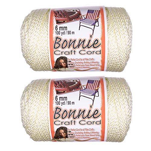 2 Pack 6mm Bonnie Cord – for a Variety of Crafting and Macramé Projects – 100 Yards of Cord (Ivory)