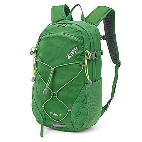Terra Peak Flex 20 Wanderrucksack 20L für Herren und Damen grün Daypack Outdoorrucksack mit Trinksystem und abnehmbarem Hüftgurt für Wandern, Radfahren, Reisen, Sport und Fach für Laptop Regenhülle
