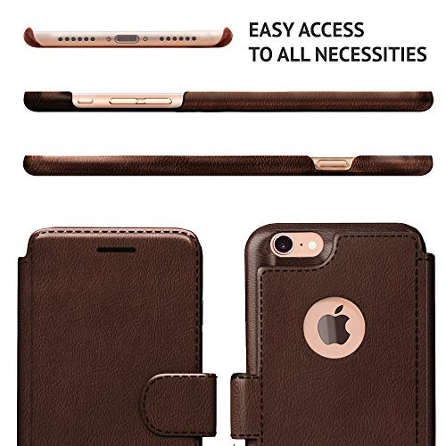 iPhone 6, 6s Wallet Case | Durable and Slim | Lightweight with Classic Design & Ultra-Strong Magnetic Closure | Faux Leather | Dark Brown ||Apple 6/6s (4.7 in)