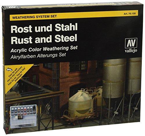 Vallejo 070150 Farbset, Rost und Stahl, 8 x 17 ml