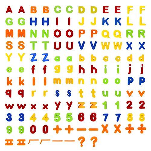 ChunKang Juego de 160 letras magnéticas del alfabeto con números para aprendizaje, ortografía, contar, incluyendo 52 letras mayúsculas, 52 minúsculas, 40 números magnéticos y 16 símbolos.