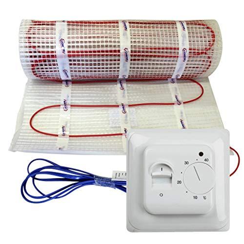 EXTHERM TWIN verwarmingskabelmat voor elektrische vloerverwarming met regelaar - installatie - 100 W - comfortabele warmte in al je kamers - hernieuwbare energieoplossing 4,5m² Btc70