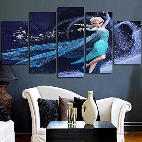 45Tdfc 5 Piezas Arte Pared Lienzo Película de Dibujos Animados de Princesa congelada HD Pintura Cartel ImpresióN -Wall Lona Paintings -Escena Sala Estar Oficina DecoracióN