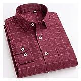XJJZS Camisa de manga larga para hombre bolsillo de tela escocesa casual cepillado para hombres chemise Homme Mens Ropa (Color : Red, Size : 43 is Asian size 3XL)