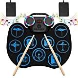 Electronic Drum Set, Portable Roll-Up Drum Practice Pad, 9 Pad Digital Drum Kit, Built-in Dual Stereo...