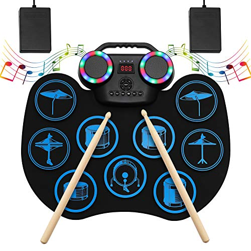 Electronic Drum Set, Portable Roll-Up Drum Practice Pad, 9 Pad Digital Drum Kit, Built-in Dual Stereo Speakers, Bluetooth Wireless Electric Drums for Kids Beginner Great Holiday Birthday Gift