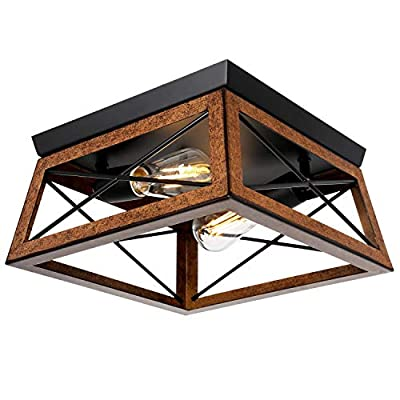 2 Light Flush Mount Ceiling Light, Industrial Rustic Ceiling Light Fixture with Square Metal Cage Shade for Entry, Hallway, Bedroom, Bathroom