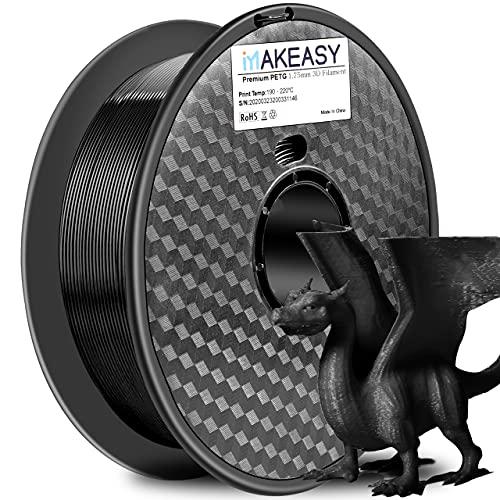 PETG 3D filament Makeasy petg filament 3D Printer Filament 1.75mm 1KG(2.2lb) +/- 0.02 mm, 1 kg Spool PETG Noir Pour Ender 3 Pro