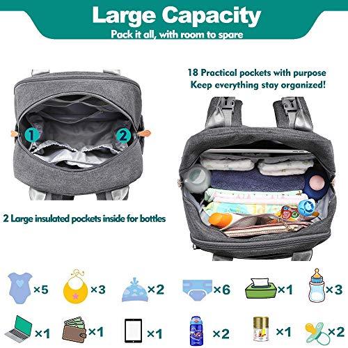 BabbleRoo Wickeltasche Rucksack in grau, mit Kinderwagen Befestigung