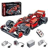 BGOOD Coche de carreras Mork 1 teledirigido modelo Mork 1100 piezas FRR-F1 para Ferrari, juguete de construcción con motores, compatible con Lego Technic