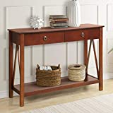 Harper&Bright Designs Antique Console Entryway,Sofa Table with Drawers and Bottom Shelf (Cherry)