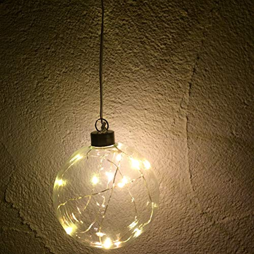 Annastore Glaskugel mit 10er LED Lichterkette, batteriebetrieben