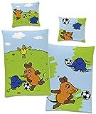 Die Sendung mit der Maus Kinder-Bettwäsche Fußball Blau 135 x 200 cm + 80 x 80 cm 100% Baumwolle...