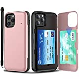 SKINU Card Case Designed for iPhone 12 Pro Max Case (2020) with Credit Card Holder ID Slot Wrist Strap Inner Mirror - Rose Gold