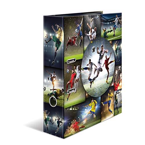 HERMA 19185 Motiv-Ordner DIN A4 Sport Fussball, 7 cm breit aus stabilem Karton mit Innendruck, Ringordner, Aktenordner, Briefordner, 1 Ordner