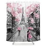 LIGHTINHOME Ölgemälde Eiffelturm Paris Paar Duschvorhang Europäische Stadt Landschaft Frankreich Modern Grau Rosa Stoff Wasserdicht Badezimmer Home Decor Set 183 x 183 cm 12 Kunststoffhaken