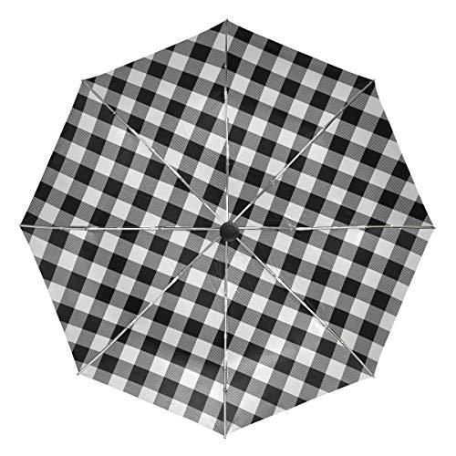 Kleiner Reiseschirm Winddicht im Freien Regen Sonne UV Auto Compact 3-Fach Regenschirm Abdeckung - Schwarz-Weiß-Buffalo Plaid