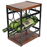 Botellero de 3 capas para 6 botellas de vino, estantería para vino de MDF + hierro, para bar, sótano, cocina, sótano, sótano, sótano, sótano, 17,7 x 24 x 31,5 cm