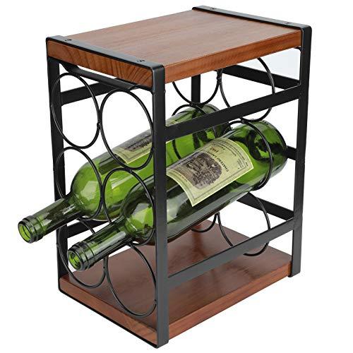 AYNEFY Botellero de apoyo de madera rústica, estantería para vino, kit para estantes de cocina, presentación y Wine, 17,7 x 24 x 31,5 cm