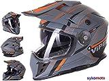 MOTOCROSS CASCO RX-V288 VENTURA DOBLE VISERA CERTIFICADO ECE-HOMOLOGADO ATV QUAD BMX MTB CARRERAS HELMET (XL (61-62 CM))