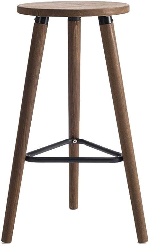 MMAXZ Retro bar Stool Solid Wood bar Stool high Round Triangle Brown Iron Frame Kitchen Chair Home bar Furniture Bearing