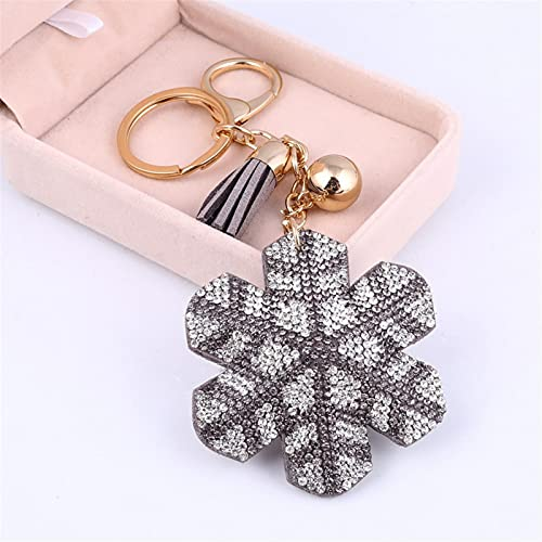 YCHH Fleur de Neige Chaîne de clés Mignonne Or Couleur Pendentif Porte-clés Couvercle Cadeau Femme Cadeau Keychain 8.0cm 1pcs (Color : Pink, Size : About 8.0cm)
