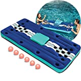 Wembley Inflatable 7 Piece Pool Beer Pong Set Raft Float with Drinks Cooler for Summer Parties,...