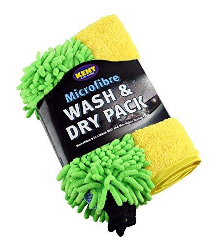 Kent Q2459 - Set di 2 Panni in Microfibra Wash and Dry, per Lavare e Asciugare, Colori Assortiti