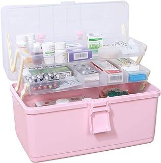 救急箱 薬箱 収納箱 ツールボックス 応急ボックス 多機能収納ケース 3層 携帯 大容量 かわいい 取っ手付き 緊急 防災 薬入れ 小物入れ ピンク