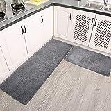 LORDWEY 2 Pieces Kitchen Rug Mats Anti-Slip Soft Kitchen Rugs and Mats Set Floor Mats Bath Rug Doormat Runner Carpet Set, Machine Washable (16'x48'+16'x24') (Grey)